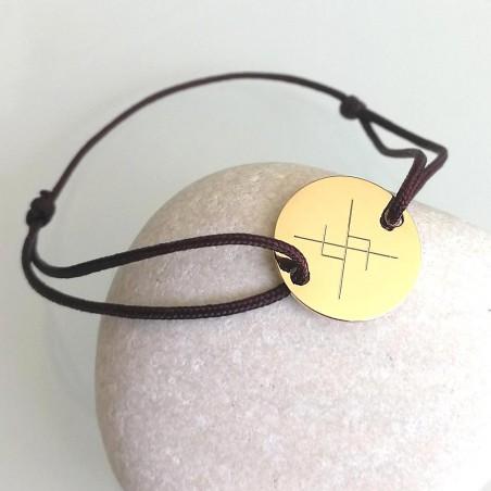 Bracelet gravé rune viking symbole scandinave - plaqué or cordon