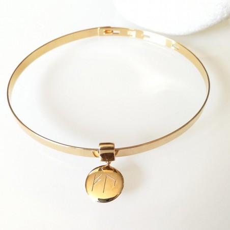 Jonc ruban avec médaille personnalisée runes viking à graver plaqué or