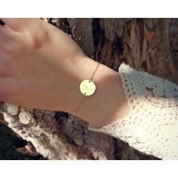 Bracelet personnalisé pastille gravée avec rune viking plaqué or