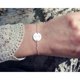 Bracelet pastille personnalisée gravée avec rune argent