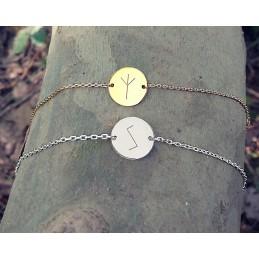 Bracelet personnalisé gravé avec rune argent ou plaqué or