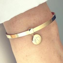 Bracelet jonc ruban avec médaille personnalisée runes viking à graver plaqué or