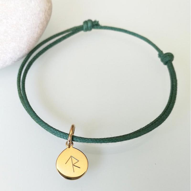 Bracelet cordon médaille personnalisée rune symbole viking gravé or