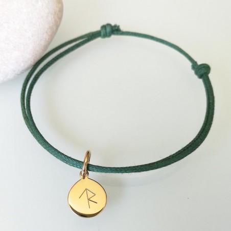 Bracelet cordon médaille personnalisée 10 mm rune symbole viking gravé plaqué or