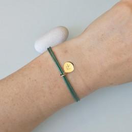 Bracelet cordon médaille gravée rune symbole viking celte