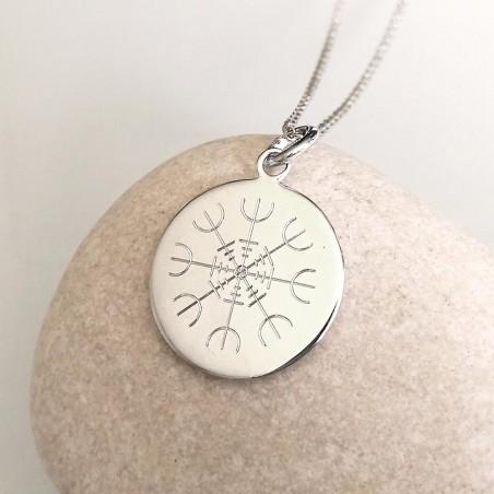 Médaille personnalisée à graver 18 mm symbole viking argent