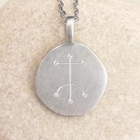Médaille talisman personnalisé avec symbole viking argent