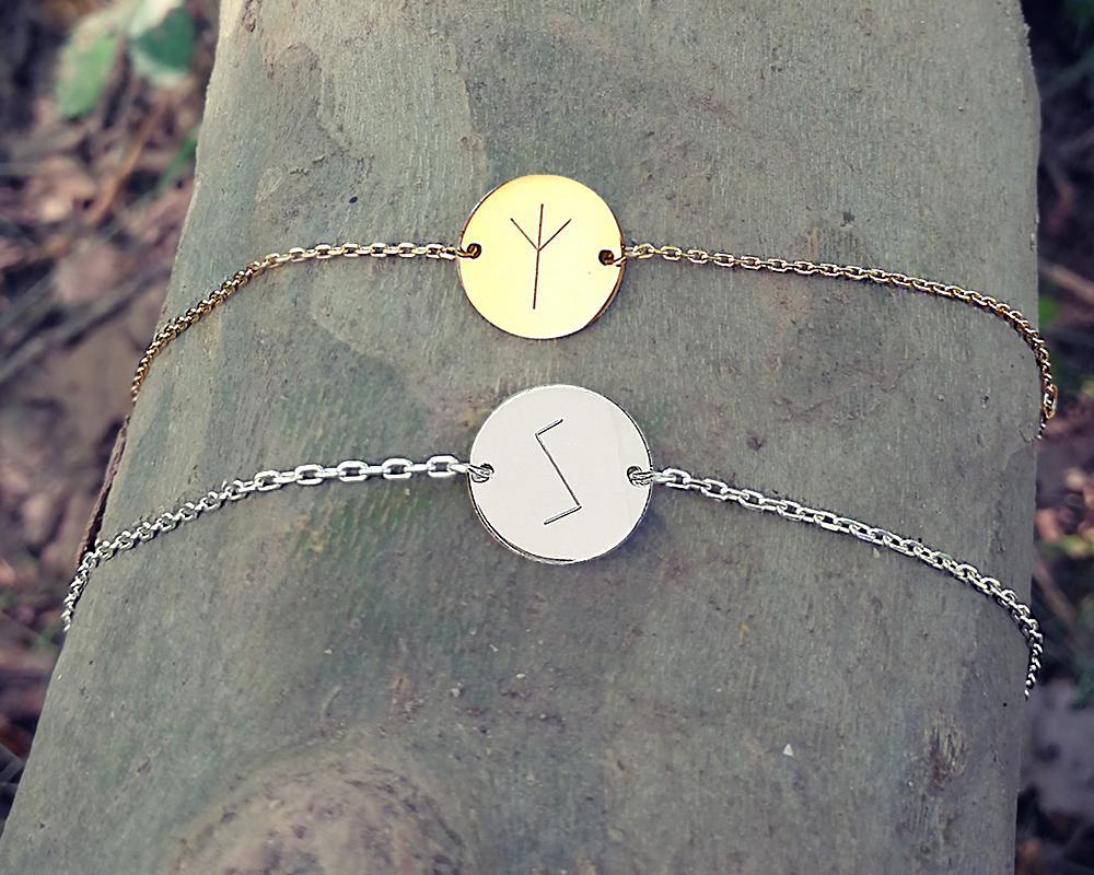 bracelet pastille personnalisée gravée avec rune viking